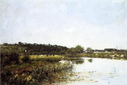 On The Banks of the Touques - Eugene Boudin