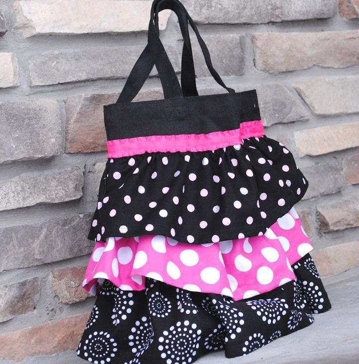 Ruffle Tote Bag - from learn to sew series. Tutorial