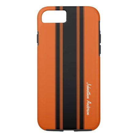 Modern Burnt Orange Racing Stripes With Name iPhone 7 Case - tap, personalize, buy right now!