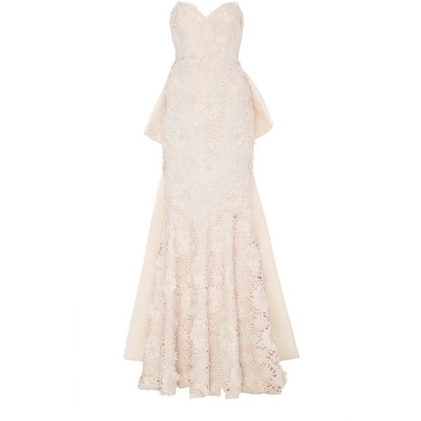 M'O Exclusive La Leyenda Del Beso Dress | Moda Operandi ($7,500) ❤ liked on Polyvore featuring dresses, gowns, bridal, long dresses, pink evening gowns, bridal gowns, strapless dresses and pink strapless dress