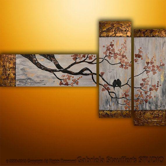 Original Modern Landscape Birds Asian Modern Tree Textured Blossom Painting Art by Gabriela 50x30