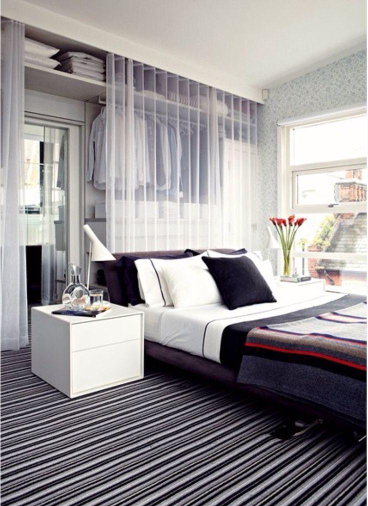 Alternative walk in wardrobe behind bed
