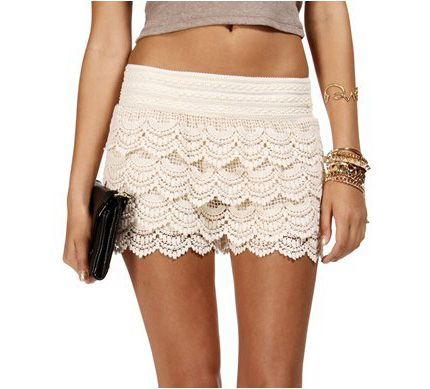 *free ship* lace Crochet shorts