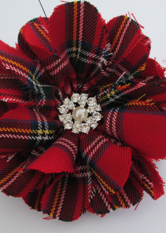 Scottish Tartan brooch for women. Modern. Red Scottish tartan brooch. Plaid brooch. Flower brooch. This Royal Stewart tartan brooch is handmade and has a beautiful rhinestone and pearl button centre piece. It is fastened with a brooch pin on reverse. This brooch is suitable for