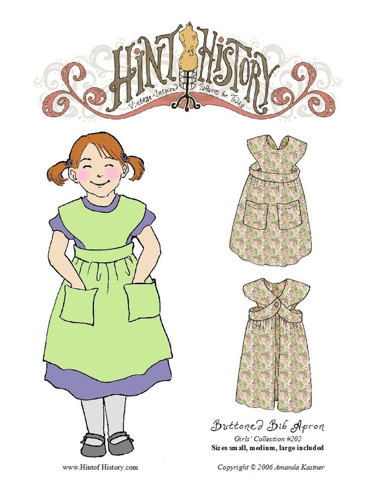 Girls' Buttoned Bib Apron #202 | Hint of History: Vintage-Inspired Patterns