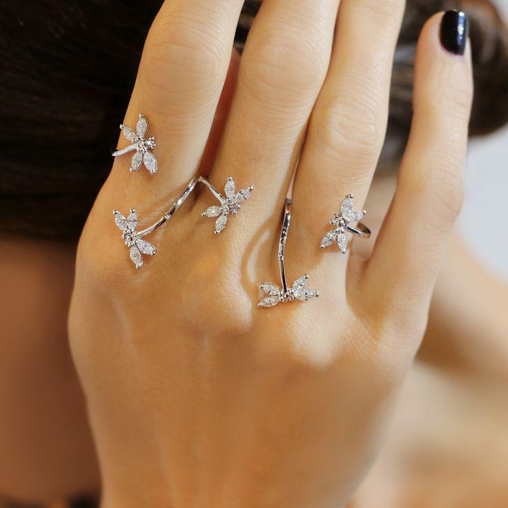 """Dragonfly"" Diamond Three Finger Ring - Shop Fine Jewelry Online | Plukka"