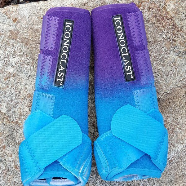 Custom Purple and Light Blue Airbrushed Iconoclast Boots