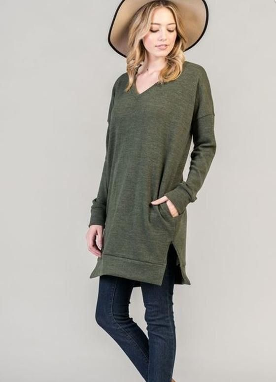 39fe2594e2 Bellamie Pockets Sweater Tunic - Olive in 2019