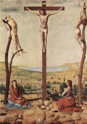 Crucifixion - Antonello da Messina ca 1475, style early Renaissance. oil, at Koninklijk museum voor Schone Kunsten