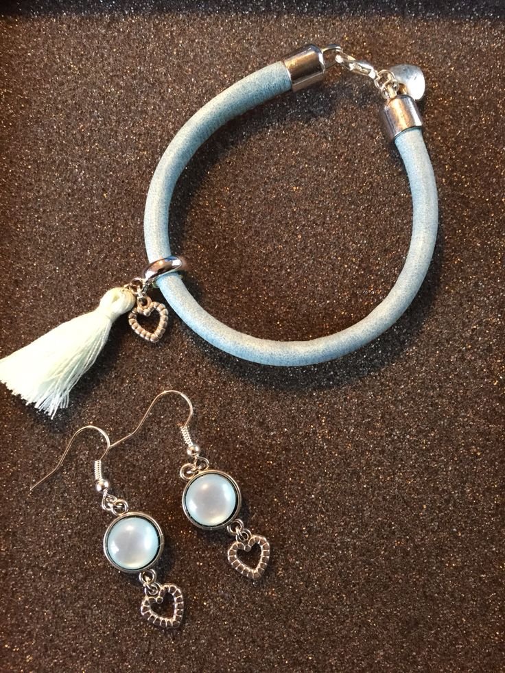 #set #oorbellen #armband #bamboo #kwastje #blauw