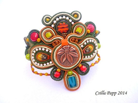 Madras Soutache Bracelet with beads in green goldenrod blue and red
