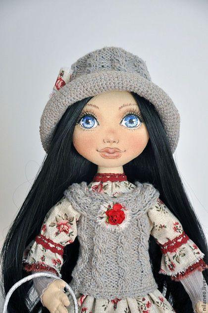 Эрика - серый,текстильная кукла,авторская кукла,интерьерная кукла,коллекционная кукла just lovely