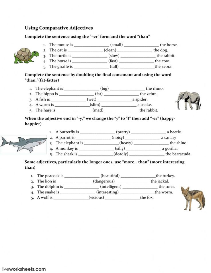 Comparatives and superlatives interactive and downloadable worksheet. You can do the exercises online or download the worksheet as pdf.