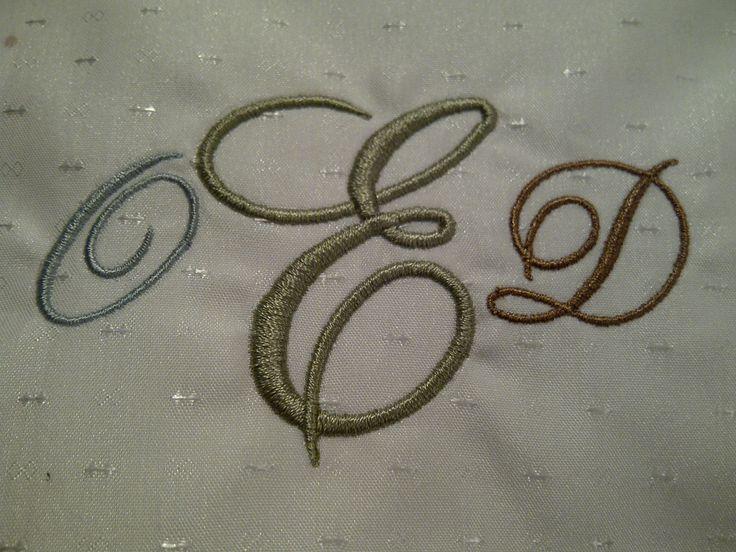 monogram on  down pillows