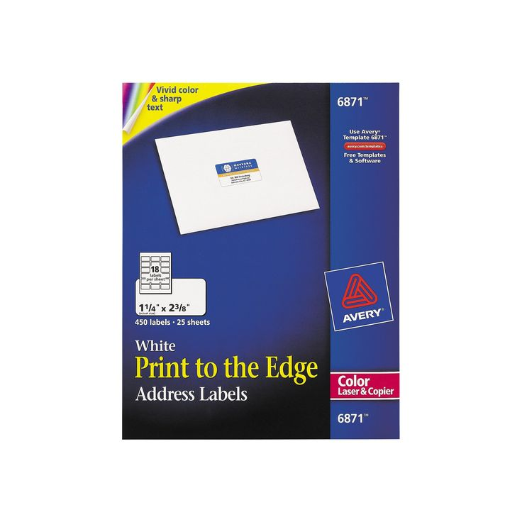 Avery 06871 Color Printing Mailing Labels 1 4 X 2 3