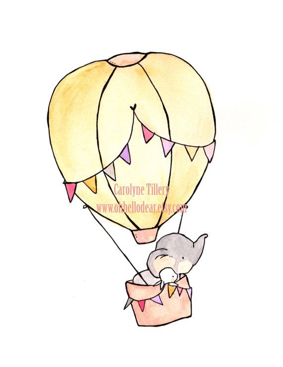 Fly Away Pink — Nursery Art, child wall art, boy nursery, girl nursery,bunny rabbit, elephant