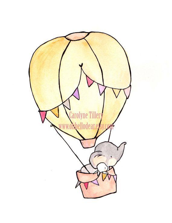 Fly Away Pink — Nursery Art, child wall art, boy nursery, girl nursery,bunny rabbit, elephant
