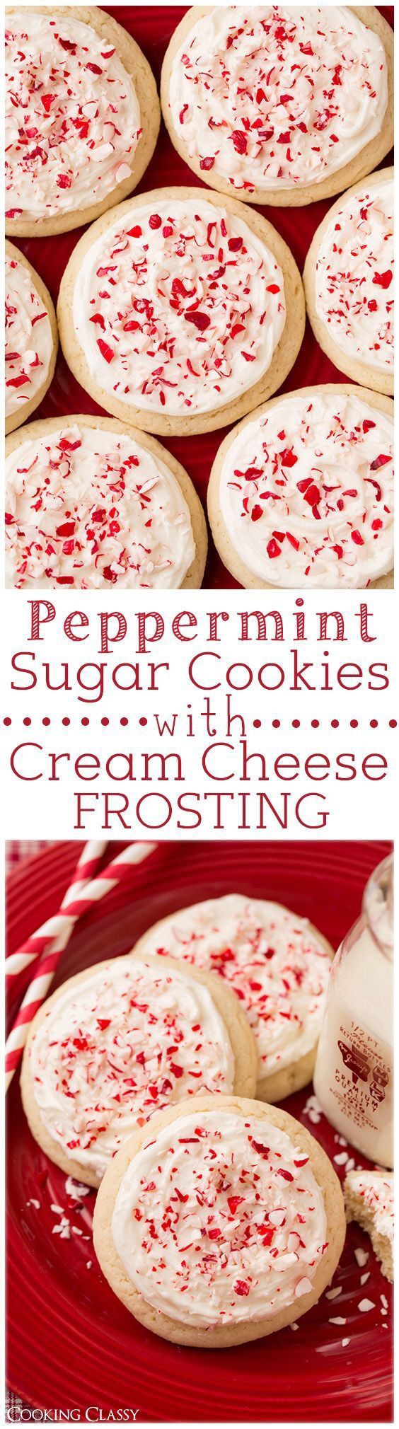 Peppermint sugar cookies with cream cheese frosting