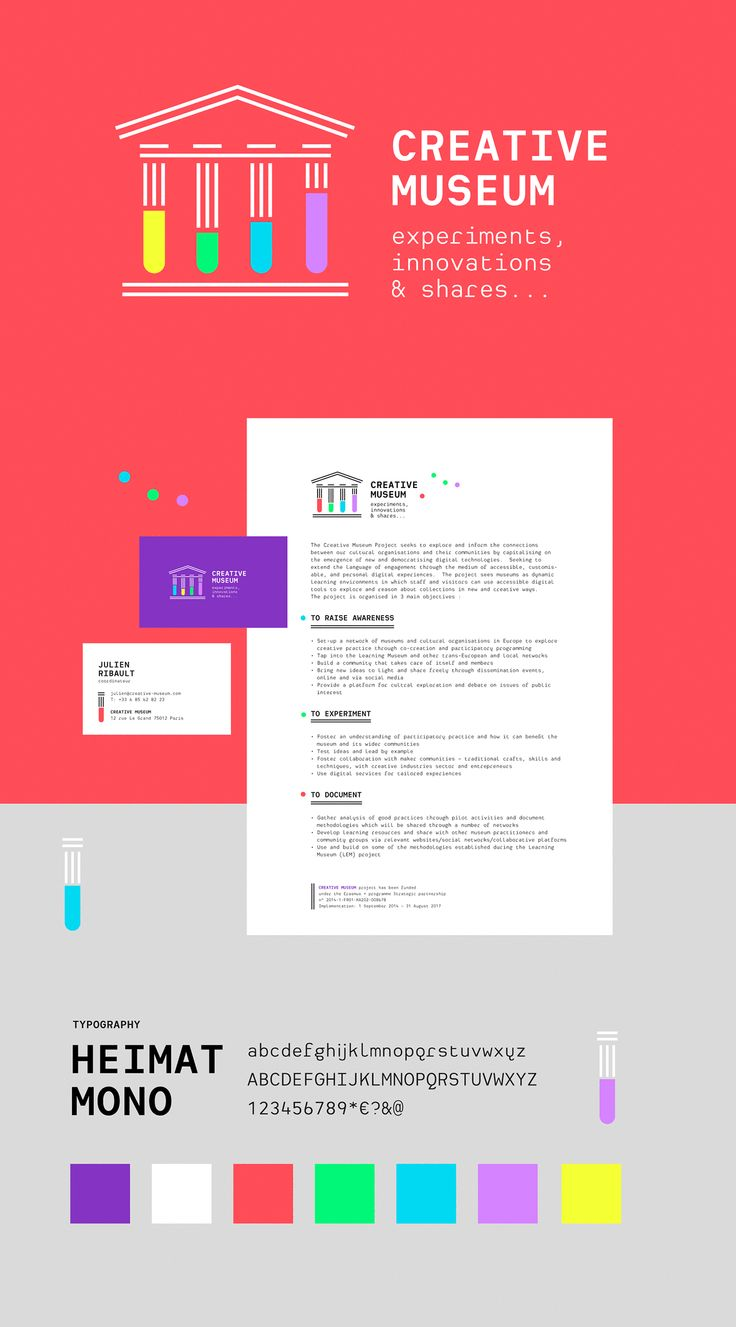Creative Museum - Branding on Behance 把古典的帕特农神庙和现代的试管结合到了一起