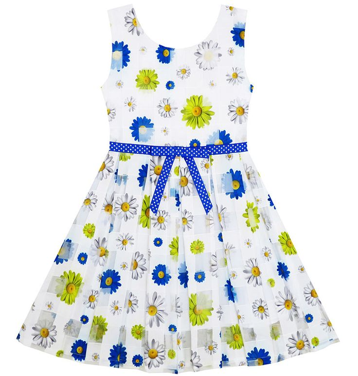 Sunny Fashion Girls Dress Plaid Checkered Tulle Floral Printed Dot Belt Size 2-6…