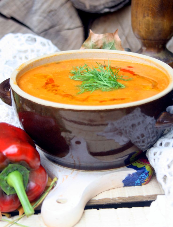Italian soup with chickpeas and roasted peppers.