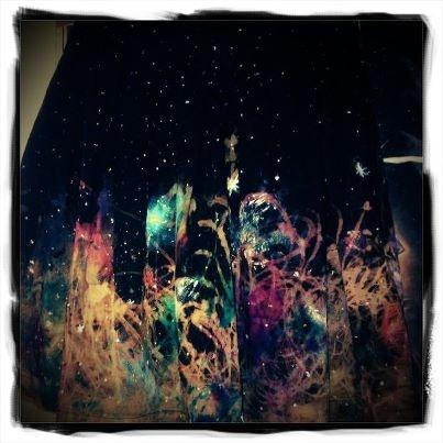 hand printed galaxy skirt