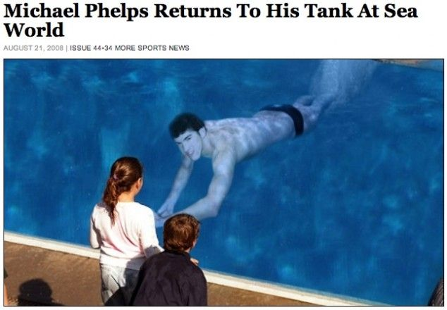 Phelps returns to his tank at Sea World