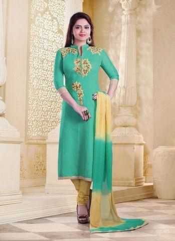Greenish Blue Silk & Cotton Salwar Kameez ,Indian Dresses