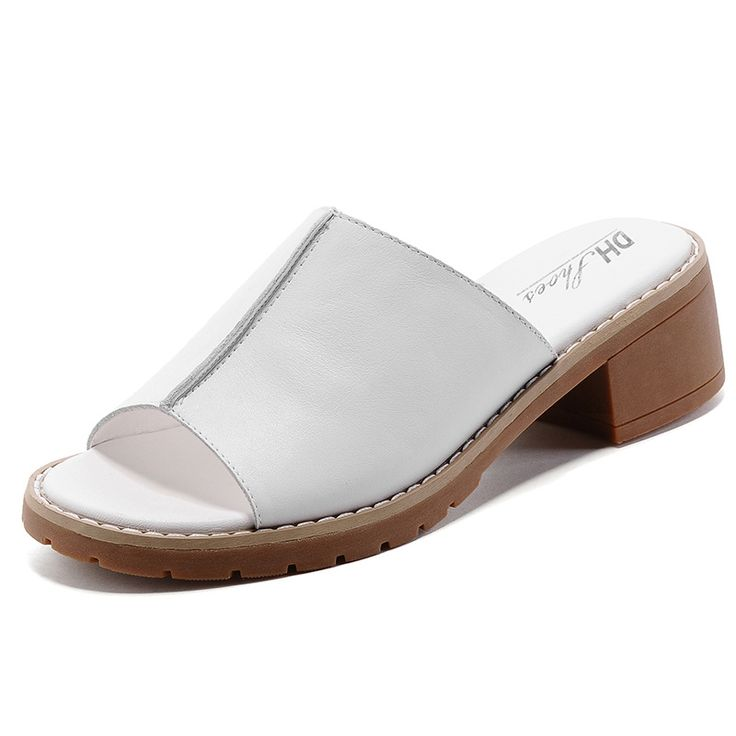 42.59$  Watch now  - Summer Fashion Soft Cow Leather Women Sandals Handmade Comfortbale Medium Square Heel Solid Color Slip On Style Girls Slides