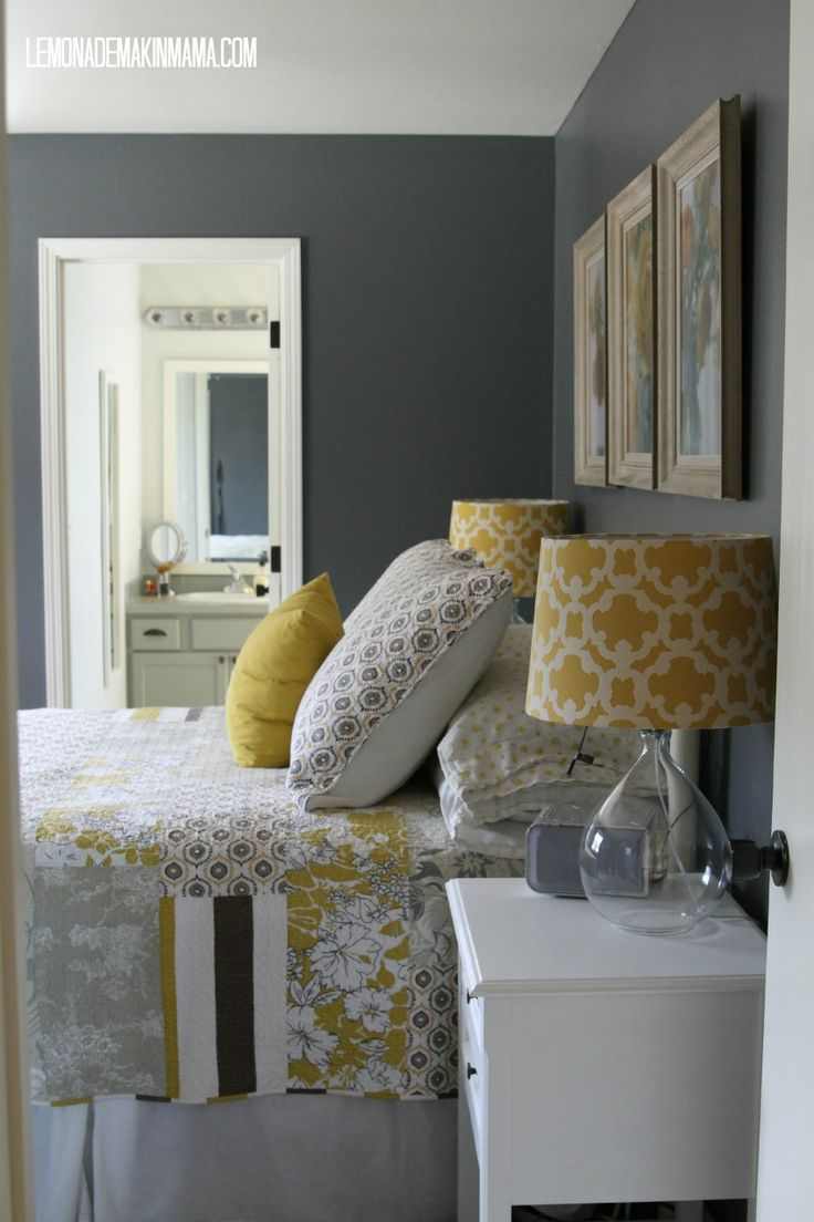 love wall color and bedding via lemonade