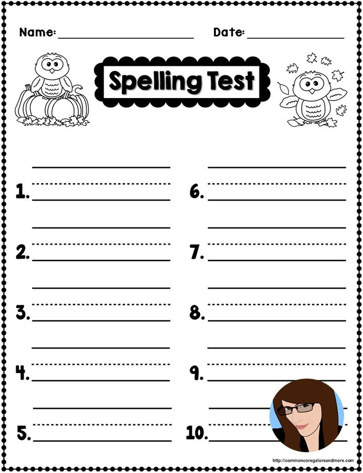 Best Spelling Images On   Spelling Test Template