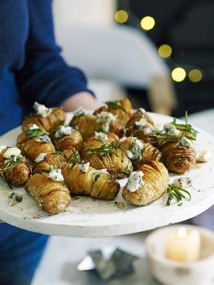Hasselback Potatoes with Gorgonzola and Honey   Jamie Oliver
