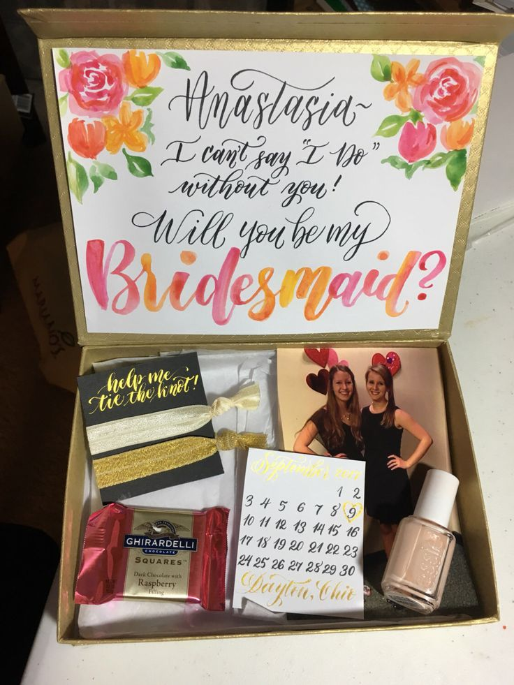 Will You Be My Bridesmaid? Personalized Gift Box by LoveleighLoops on Etsy https://www.etsy.com/listing/488257806/will-you-be-my-bridesmaid-personalized