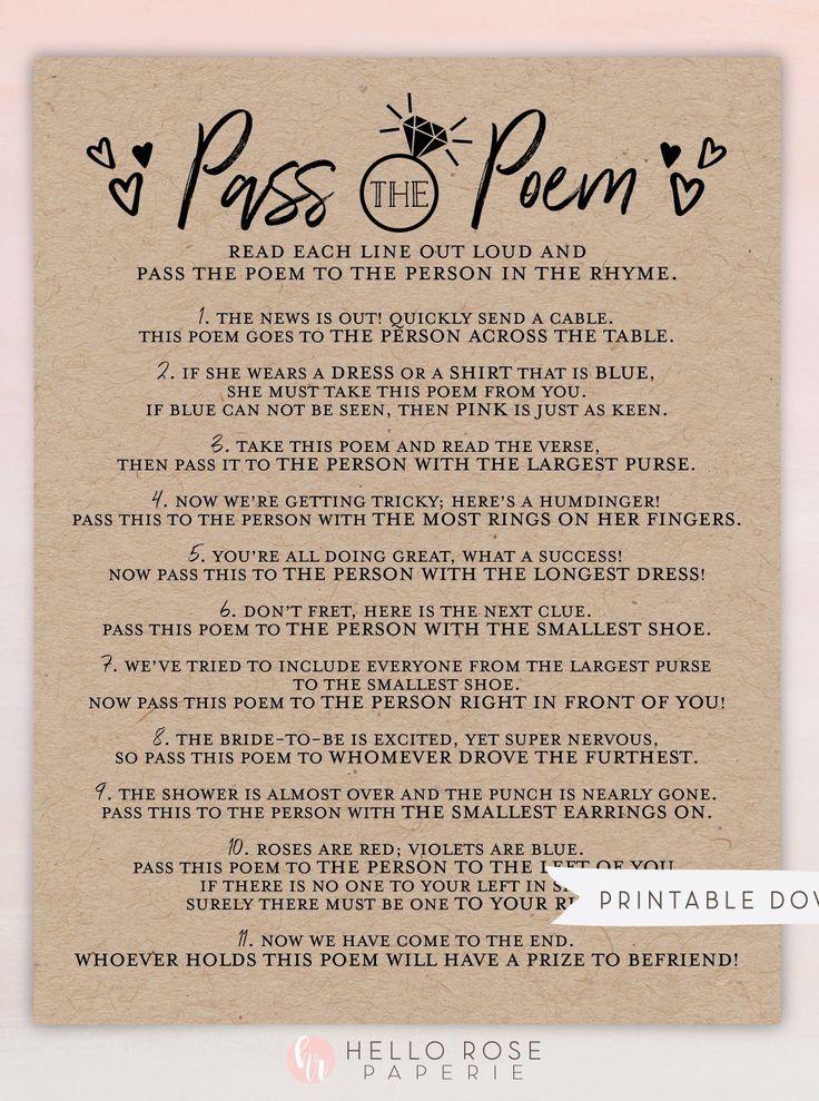 Pass the Poem Bridal Shower Printable Game . Bachelorette ...