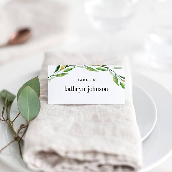 Green Foliage Printable Wedding Place Cards Template Wedding Printable Place Cards Wedding Wedding Place Card Templates Wedding Place Cards
