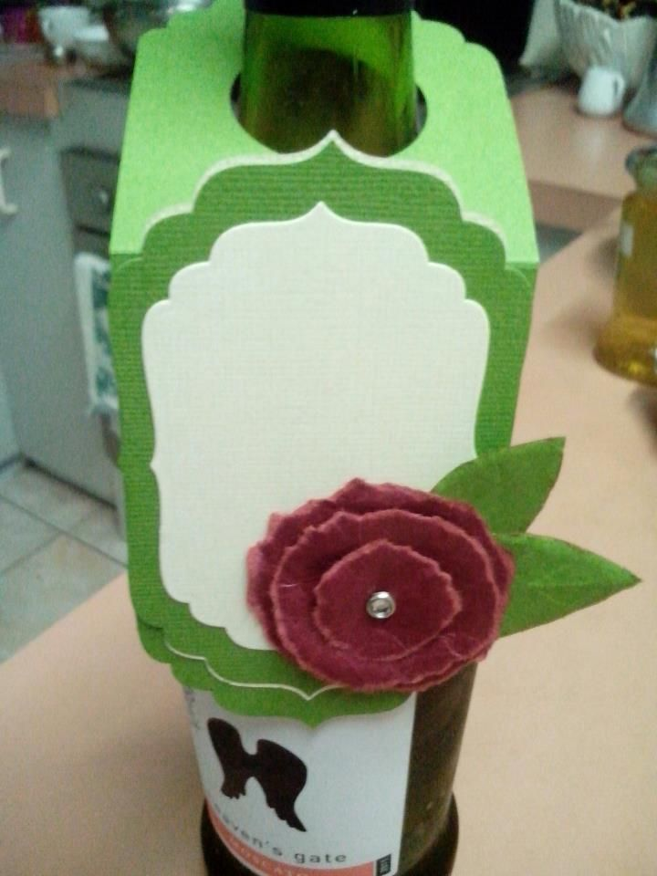 Wine Bottle Gift tag i created. using my sizzix dies to give the pretty design and torn rose i taught in class.