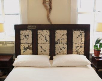A Great DIY Door Project! Old Ceiling Tiles Queen Headboard Made From Salvaged  Door And Antique Ceiling Tins