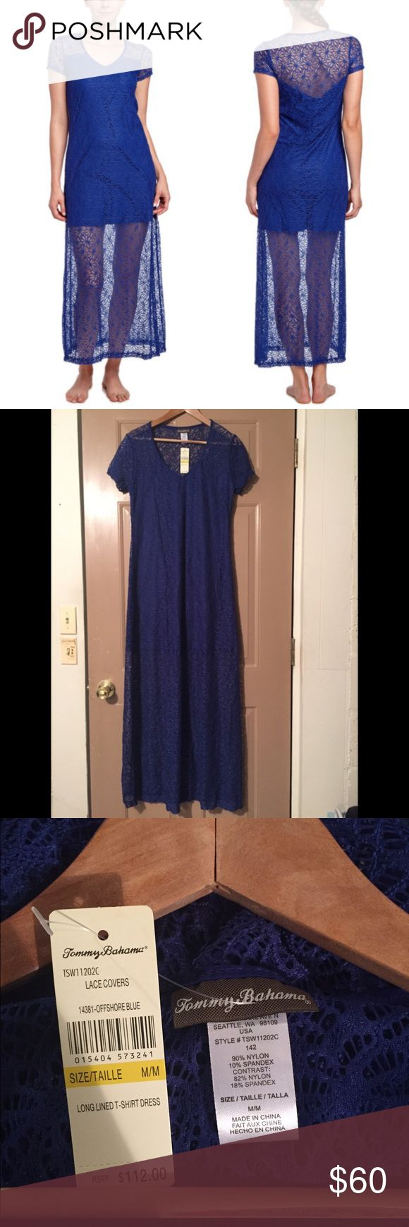 NWT Tommy Bahama Blue Lace Maxi Dress NWT Tommy Bahama Blue Lace Maxi Dress SIZE:Medium COLOR: Blue RETAIL: $112   Fun, flirty days await you in this lovely lace dress. Soft and lightweight floral lace brings femininity to the maxi T-shirt style. Fashioned with a short opaque lining, it's the perfect option for date night, dancing and poolside drinks.   Shell: 90% nylon, 10% spandex; lining: 80% nylon, 20% spandex For best results, hand wash Style # TSW11202C Tommy Bahama Dresses Maxi