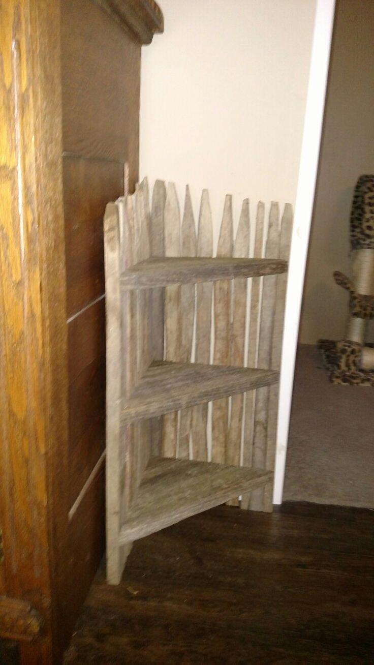 Tobacco stick and barn siding corner shelf