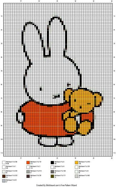 Miffy cross stitch pattern
