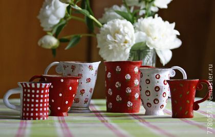 """набор кружек """"Чай с вишневым вареньем"""" - бордовый,кружка,кружки,чашка"""