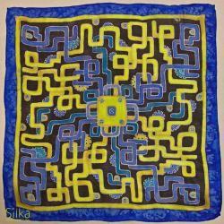 niebiesko-żółta ręcznie malowana jedwabna poszetka - Inne - Dodatki