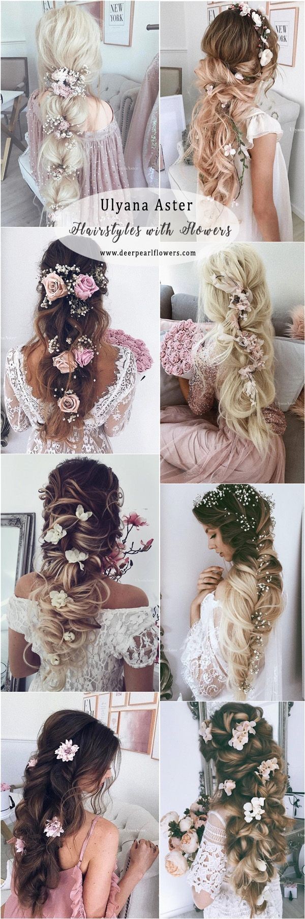 Ulyana Aster Long Wedding Hairstyles with Flowers #weddings #weddingideas #weddnghairstyles #hairstyles ❤️ http://www.deerpearlflowers.com/ulyana-aster-wedding-hairstyles-2/ #weddinghairstyles #weddinghairstyleswithflowers