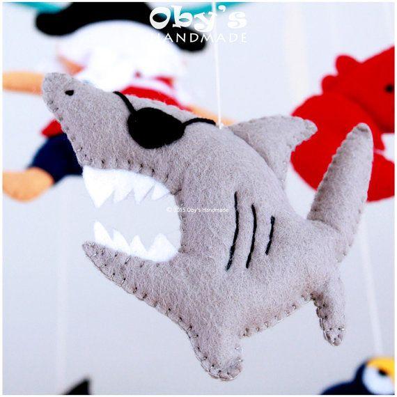 Felt Pirates mobile Nursery mobile Pirate Shark by Obyshandmade