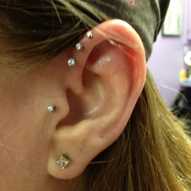 Triple front helix piercing with NeoMetal push pin gem studs!
