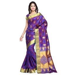 Buy Blue woven art silk saree with blouse kanchipuram-silk-saree online