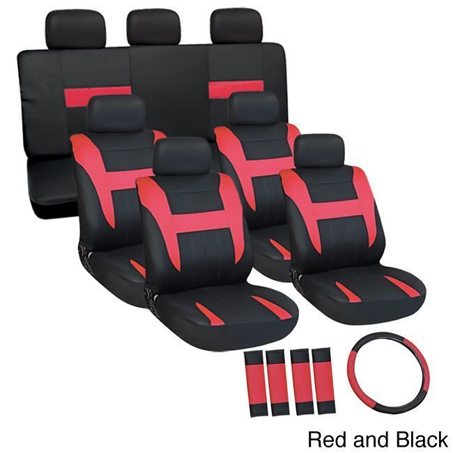 Oxgord Cloth / Mesh 17-Piece SUV Seat Covers Set for Sport Utility Vehicles with 3 Rows (Red and Black)
