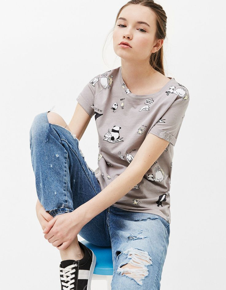 All-over print cotton T-shirt. Discover this and many more items in Bershka with new products every week