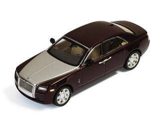 IXO 1:43 Rolls Royce Ghost Diecast Model Car MOC150 This Rolls Royce Ghost (2009) Diecast Model Car is Bordeaux and Silver and has working wheels and also comes in a display case. It is made by IXO and is 1:43 scale (approx. 11cm / 4.3in long).
