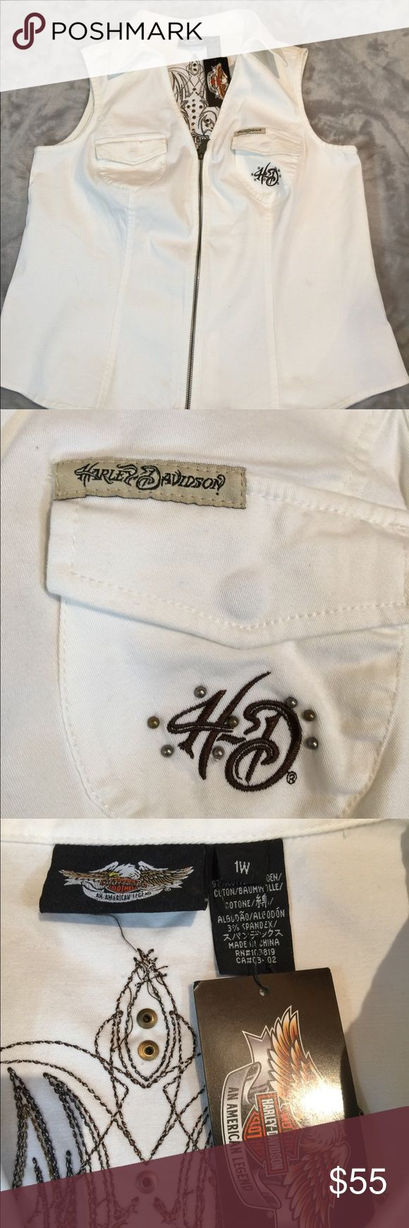 Harley Davidson White Denim Vest/Top NWT Perfect new with tags condition. Size 1W. It has spandex so it's got some stretch. 24 inches pit to pit. 15 inches pit to hem   No pets or smoke closet Harley-Davidson Tops